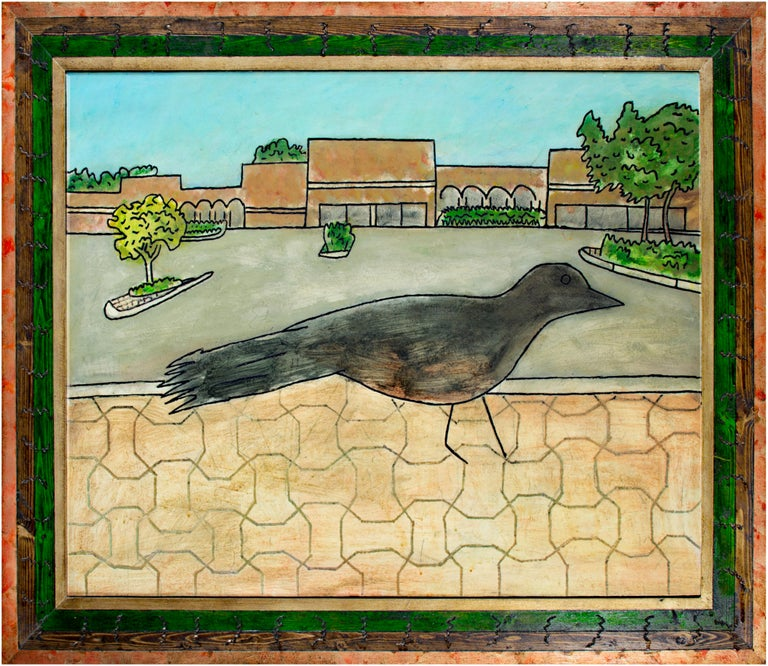 This painting, 'Mall Bird,' presents a black bird in an urban landscape using the humor and irony common to Robert Richter's oeuvre. The bird stands in the foreground atop the regularly patterned corbels of an urban sidewalk. In the distance, beyond
