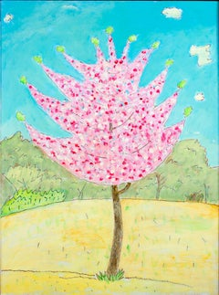 """New Growth,"" original oil painting of pink blossoming tree by Robert Richter"