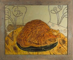 """New Year Bird,"" Food Still Life Oil on Wood signed on Verso by Robert Richter"