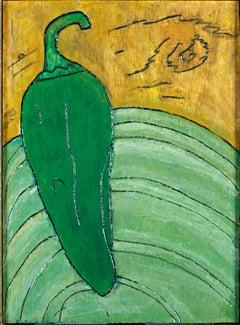 """Pepper Plate,"" Original Framed Green Still-life Oil signed by Robert Richter"