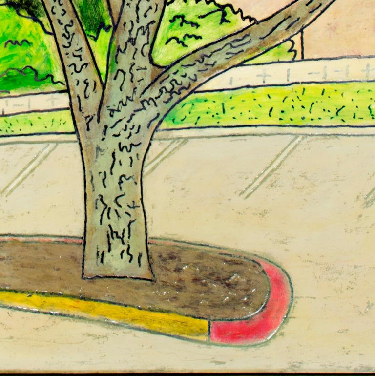 'Red and Yellow Curb' original oil on wood painting signed by Robert Richter For Sale 2