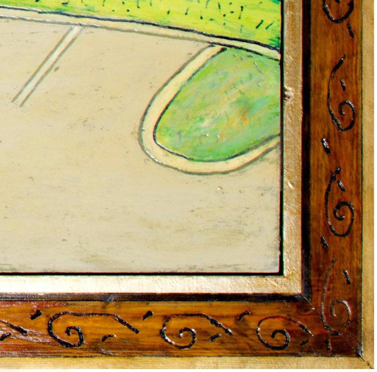 'Red and Yellow Curb' original oil on wood painting signed by Robert Richter For Sale 3