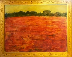 'Red Grass' original oil on wood painting signed by Robert Richter