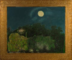 """""""Setting Moon,"""" Nighttime Landscape Oil on Wood signed by Robert Richter"""