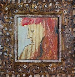 """Sideways Glance,"" Portrait Oil on Wood signed on Back by Robert Richter"