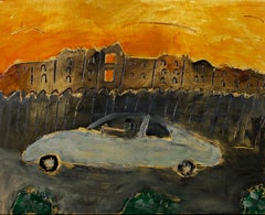 """Straight to Hell,"" Car & Orange Sky Oil on Wood signed by Robert Richter"