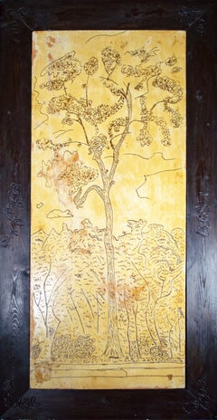 'Street Tree' original oil on wood painting signed by Robert Richter
