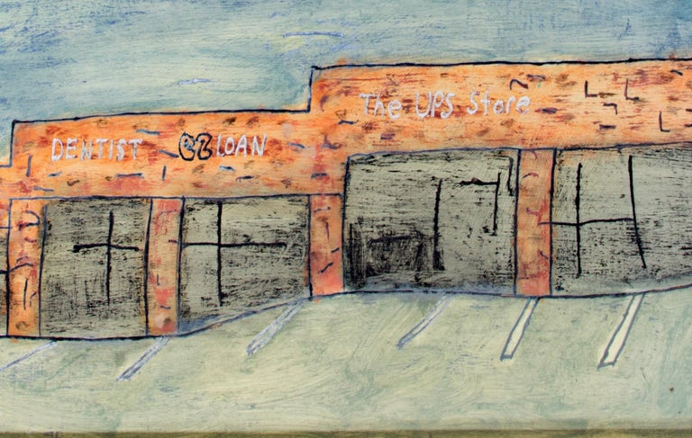 'Strip Mall' original oil on wood painting signed by Robert Richter For Sale 3