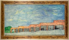 'Strip Mall' original oil on wood painting signed by Robert Richter