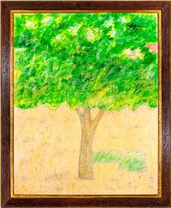 """Summer Grass,"" Original Bright Treed Landscape Oil on Wood by Robert Richter"