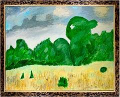 """Summer Morning/Lady Bird Center,"" Original Oil signed on back by Robert Richter"