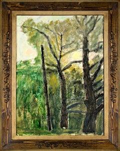 """""""Sunrise,"""" Original Oil on Wood Dawn Forest Landscape signed by Robert Richter"""