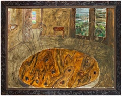 """""""Texas Afternoon"""" Interior Oil of Table on Wood signed on Back by Robert Richter"""