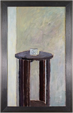 """""""The Clock,"""" Oil Painting of Small Alarm Clock on Table by Robert Richter"""