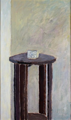"""The Clock,"" oil painting of small alarm clock on table by Robert Richter"