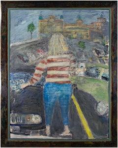 """The Traveler (Starbucks Coffee),"" Oil on Wood Cityscape by Robert Richter"