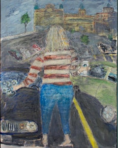 """The Traveler (Starbucks Coffee),"" oil panting on wood by Robert Richter"