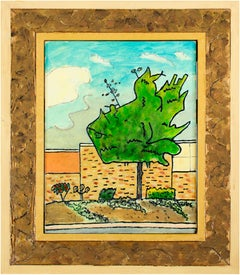 """""""Tree in Parking Lot"""" Original Suburban Landscape Oil Painting by Robert Richter"""