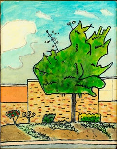 """Tree in Parking Lot,"" framed original suburban oil painting by Robert Richter"