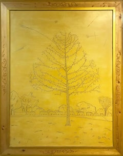 'Winter Tree' original oil on wood painting signed by Robert Richter
