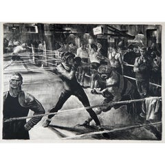 """Robert Riggs Original Stone Lithograph, Boxing Subject """"Afternoon at Max's"""""""