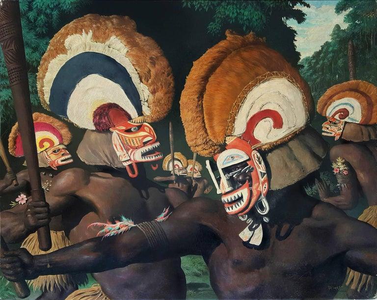 Robert Riggs Portrait Painting - Tribesmen with Headdresses