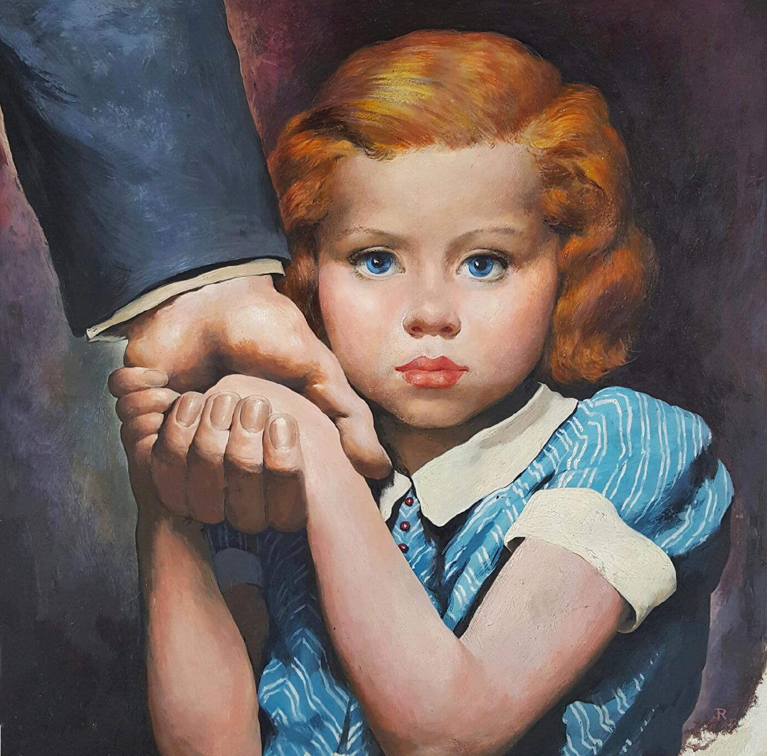 Young girl Redhead Holding her father's hand Illustration