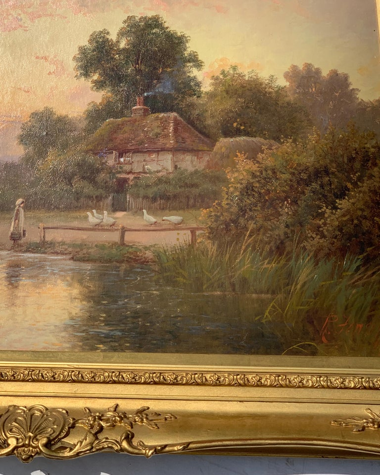 19th Century Victorian English cottage landscape - Painting by Robert Fenson