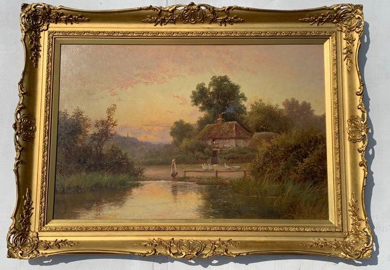 Robert Fenson Figurative Painting - 19th Century Victorian English cottage landscape