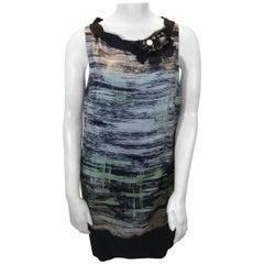 Robert Rodriguez Black and Green Print Beaded Dress