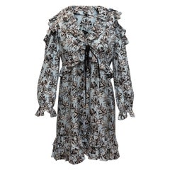 Robert Rodriguez Light Blue & Multicolor Silk Floral Print Dress