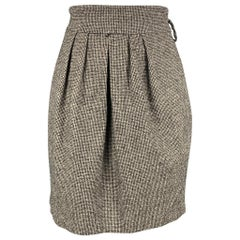 ROBERT RODRIGUEZ Size 2 Black & Cream Houndstooth Wool / Polyester Pleated Skirt