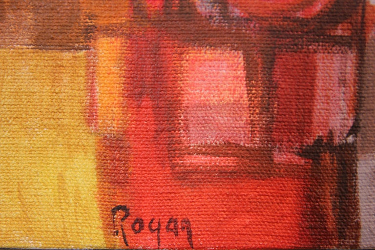 Red Abstract Cubist Landscape - Painting by Robert Rogan