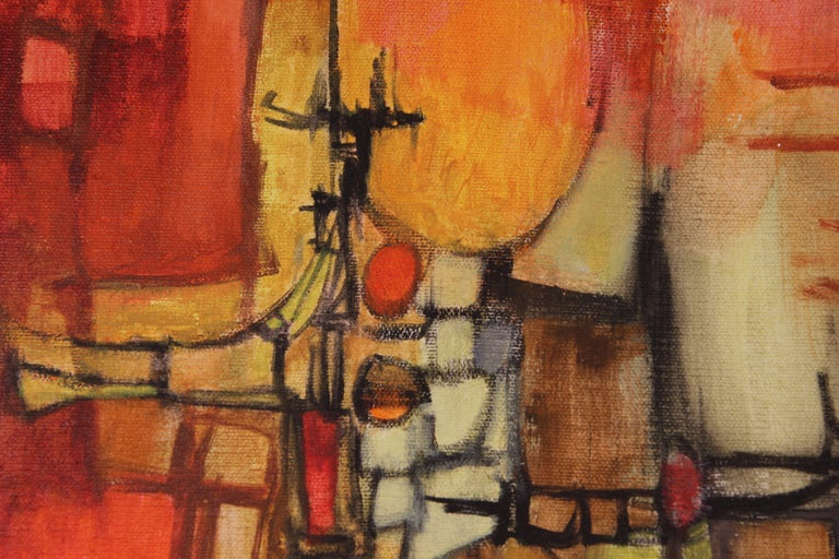 Red, yellow, and orange tonal cubist landscape. The work is signed by the artist on the back of the canvas. It is framed in a black floating frame. Dimensions without Frame: H 18 in x W 14 in x D 1 in.  Artist Biography: Robert Rogan was born in