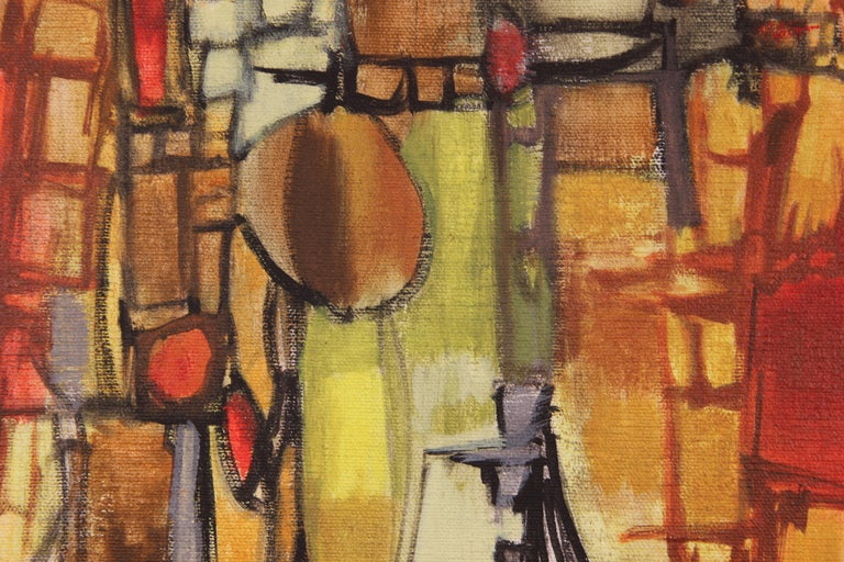 Red Abstract Cubist Landscape 1