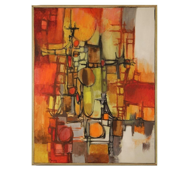 Robert Rogan Abstract Painting - Red Abstract Cubist Landscape