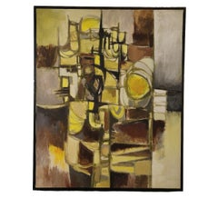 Yellow Tonal Cubist Abstract Landscape