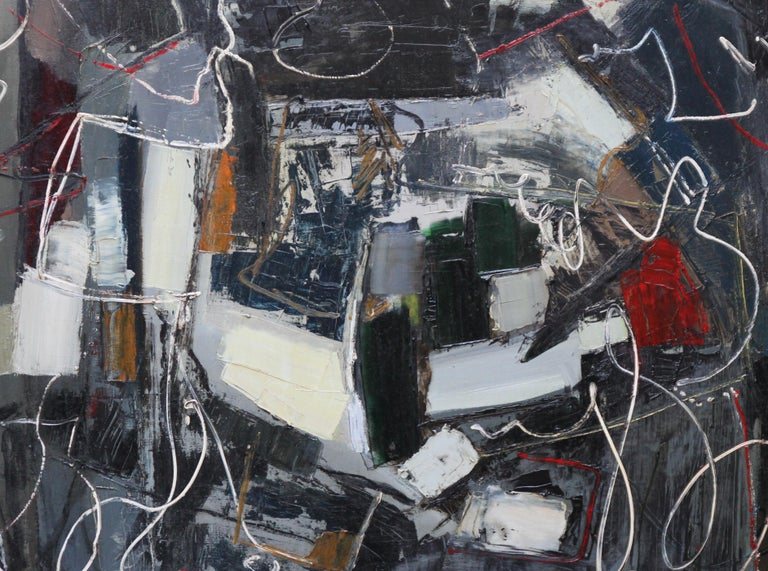 Winter 1 - British Abstract Expressionist art 1950's oil painting - Black Abstract Painting by Robert Sadler