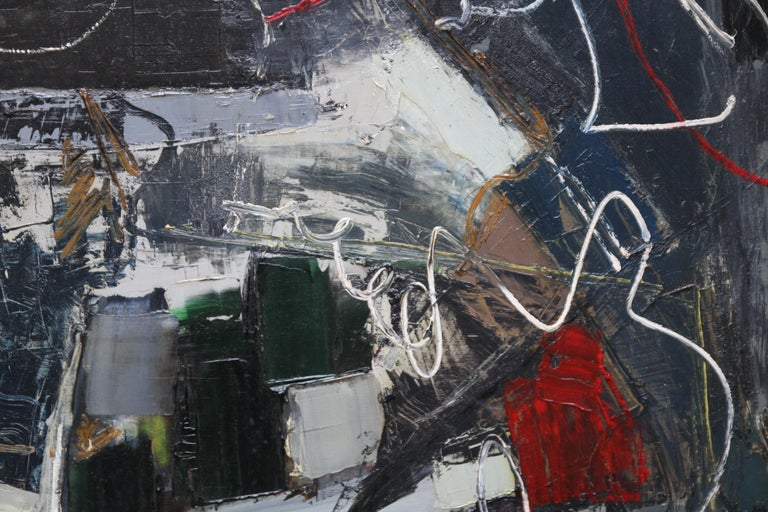 This stunning Abstract Expressionist oil painting is by noted British artist Robert Sadler and is from the late 50's. This is a fantastic example of his work and mixes abstraction with figurative landscape lines.Signed lower left.  Housed in a slim