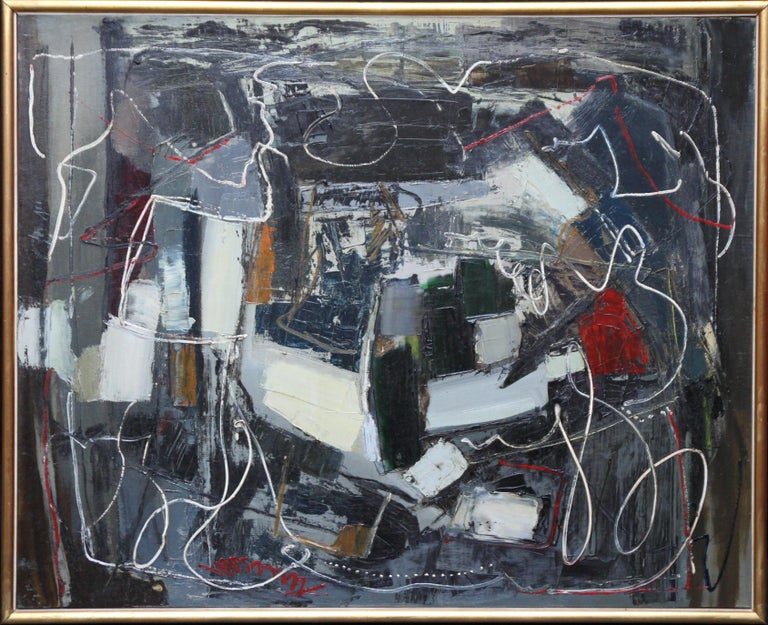 Robert Sadler Abstract Painting - Winter 1 - British Abstract Expressionist art 1950's oil painting