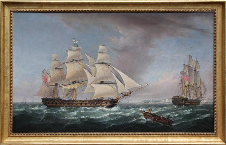 Battleship Badger, circa 1810 Harbor Seascape Scene, Warships off Dover, England - Painting by Robert Salmon