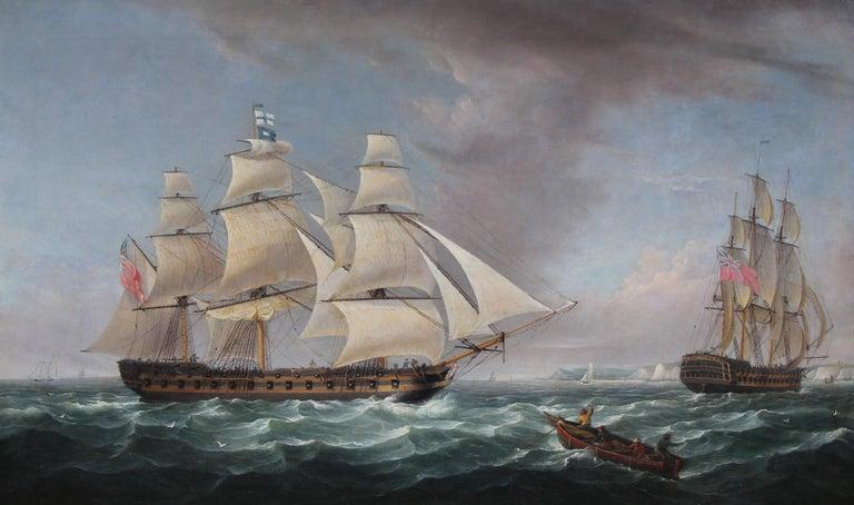 Robert Salmon Landscape Painting - Battleship Badger, circa 1810 Harbor Seascape Scene, Warships off Dover, England