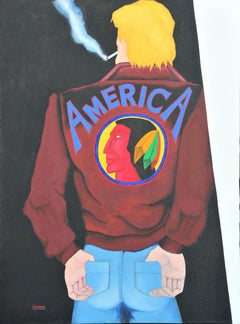 """""""America"""" Colorful Abstract Modern Portrait Painting of a Man Smoking"""