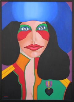 """""""Black Heart"""" Colorful Abstract Modern Pop Art Portrait Painting of a Woman"""