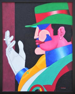 """""""Godfather 1"""" Colorful Abstract Modern Pop Art Portrait Painting of a Mafia Man"""