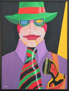 """""""The Blackhand"""" Colorful Abstract Modern Pop Art Portrait Painting of a Man"""
