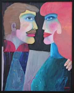 """""""The Couple"""" Colorful Abstract Modern Portrait Painting of a Couple"""