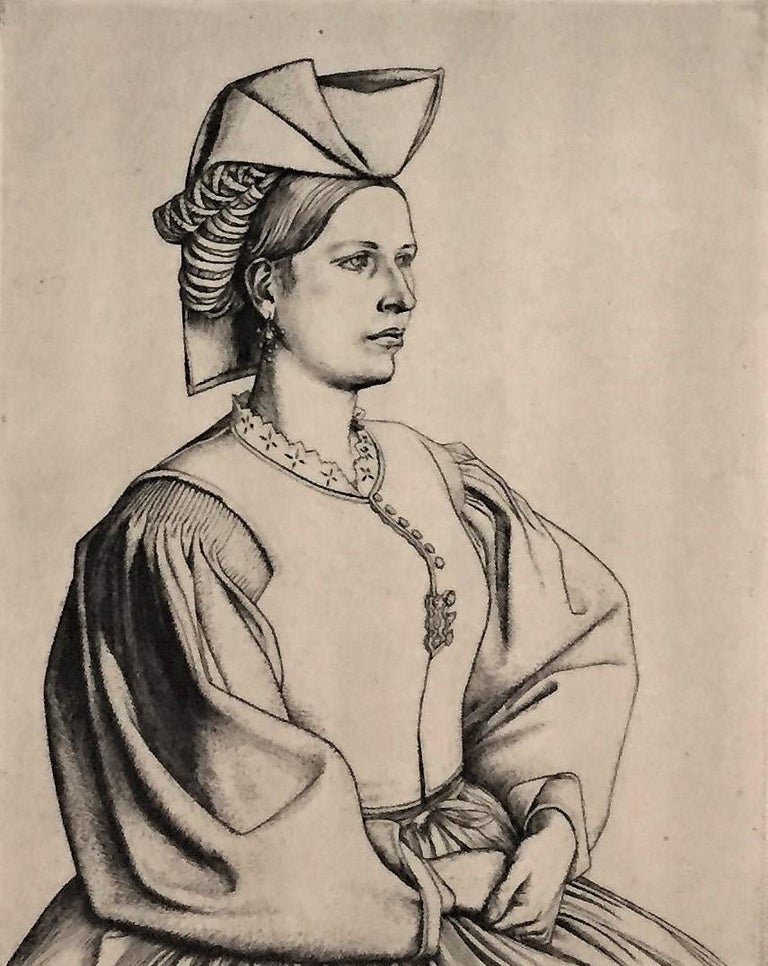 A Woman of Scanno.  - Print by Robert Sargent Austin, R.A., P.R.E., P.R.W.S.