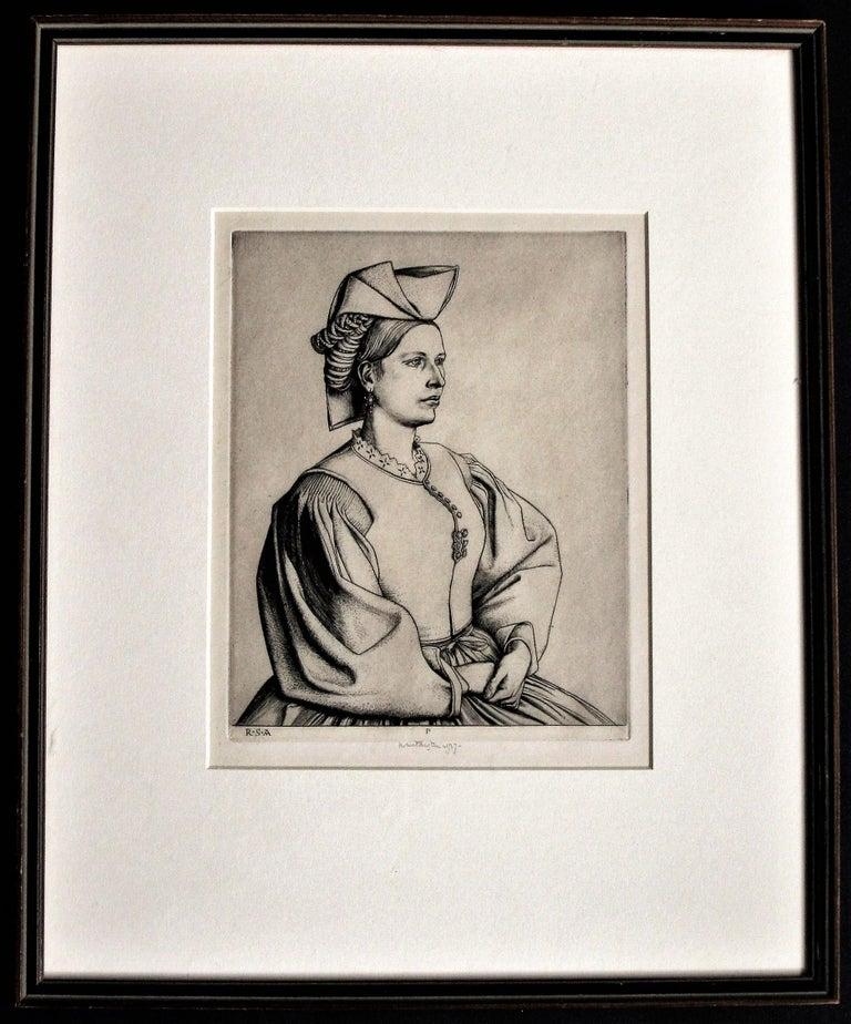 A Woman of Scanno.  - Beige Figurative Print by Robert Sargent Austin, R.A., P.R.E., P.R.W.S.