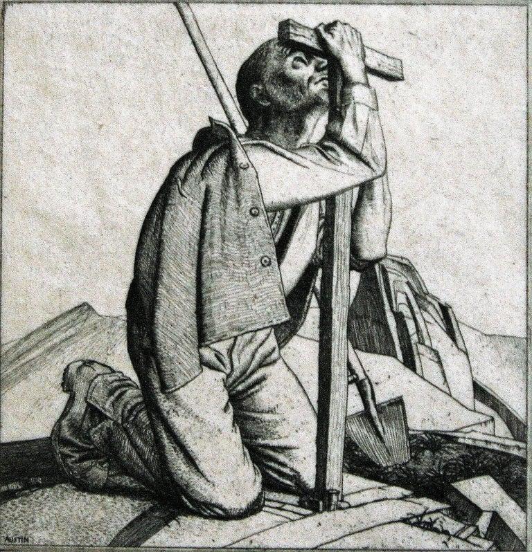 Robert Sargent Austin, R.A., P.R.E., P.R.W.S. Figurative Print - Man with a Cross